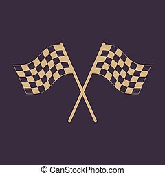 The checkered flag icon. Finish symbol. Flat Vector...