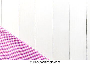 The checkered tablecloth on wooden white table background. with space for entering text.