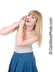 The cheerful blonde with hands on a cheek.