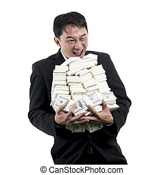 The cheerful Businessman holding a big pile of money in his arms on white background