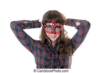 The cheerful girl in a mask