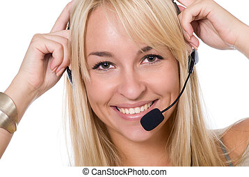 The cheerful girl with earphones and a microphone