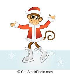 The cheerful monkey on skates