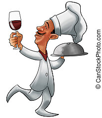 the chef - a chef with a glass of wine and a plate