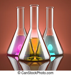 The chemical industry - Chemicals of different colors in...