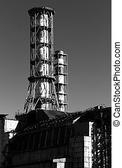 The Chernobyl Nuclear Power plant, 2012 March in black and...
