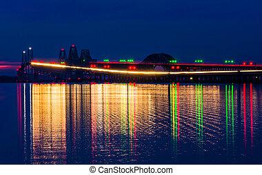 The Chesapeake Bay Bridge at night, seen from Kent Island, Maryland.