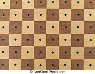 The chessboard in brown and white without 	chessmen