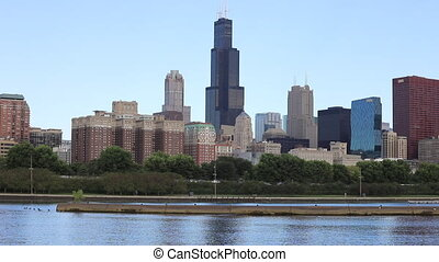 Chicago city center and harbor - The Chicago city center and...