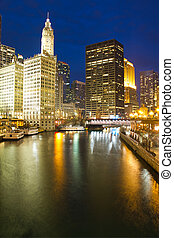 The Chicago River During the Blue Hour