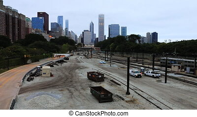 The Chicago skline with transit train