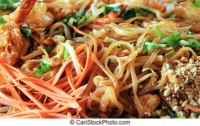 rice noodles - The chicken with rice noodles with fork close...