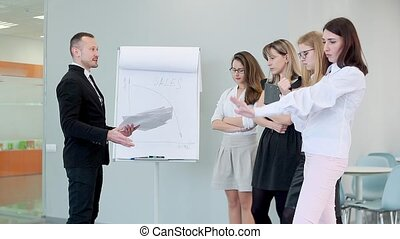 The chief strictly talks to his employees and shows them the poorly done work, throws the paper.
