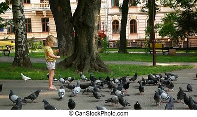 The child feeds the pigeons. Pigeons eat, the child looks at them.