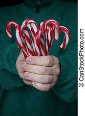 the child hands are holding several candy canes in front of them.