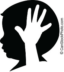The child in the head with hand.