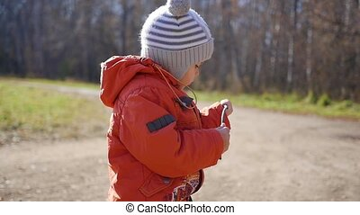 the child walking in autumn Park. A boy stands with a stick in his hands