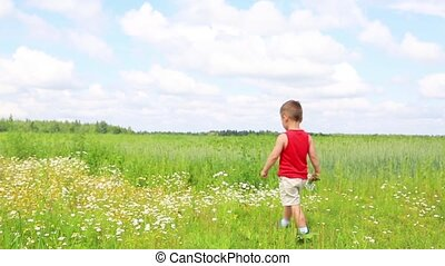 The child was tired and lay down in daisies