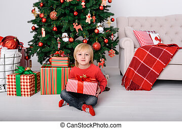 The child with a gift near the Christmas tree