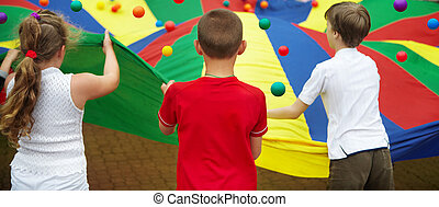 The children plays with balls