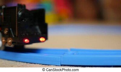 the children's railway. Kids toys. close-up