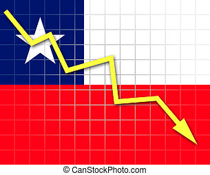 The Chile flag and arrow graph going down