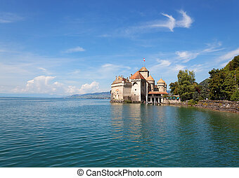 The Chillon Castle at Lake Geneva in Switzerland