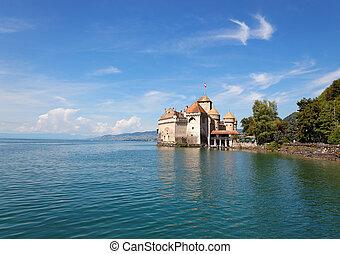 The Chillon Castle at Lake Geneva in Switzerland