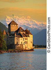 The Chillon castle in Montreux (Vaud), Geneva lake, Switzerland