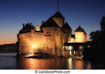 The Chillon castle in Montreux (Vaud), Geneva lake, Switzerland