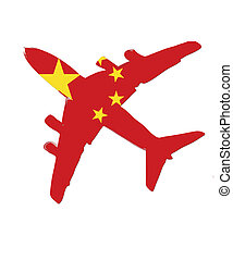 The China flag painted on the silhouette of a aircraft. glossy illustration