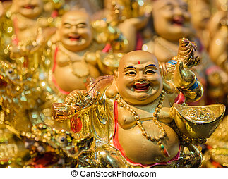 The chinese monk ceramics is worship for wealthy