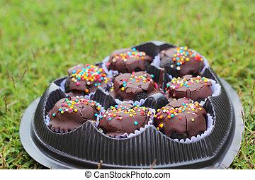The chocolate balls on green grass