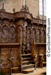 The Choir Stalls of San Marcos Convent. Leon, Spain - The...
