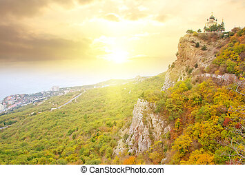 The chourch in Crimea mountain, sunset in the mountain