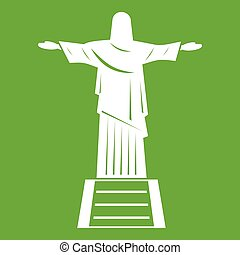 The Christ the Redeemer statue icon green