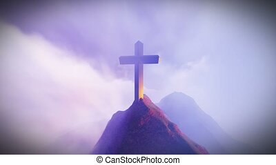 Christian Cross on a mountain