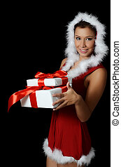 The Christmas girl with boxes gifts