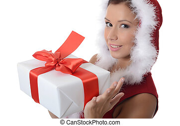 Christmas girl with boxes of gifts