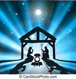 Christian Christmas nativity scene of baby Jesus in the manger with the virgin Mary and Joseph