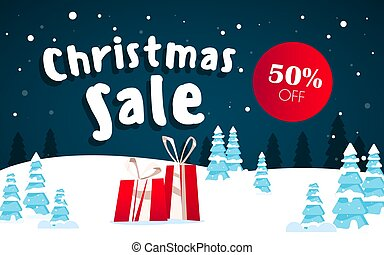 Sale headers with red gift boxes