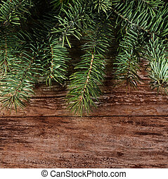 The christmas tree on wooden background