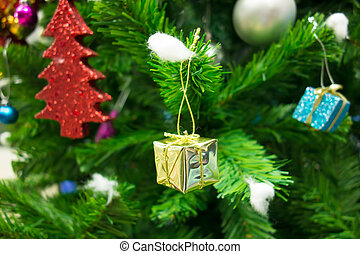 The Christmas tree with gift box