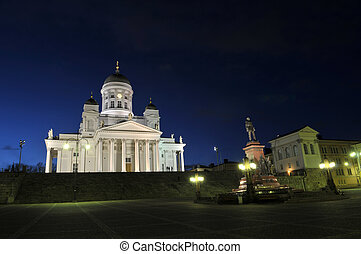 The church in Helsinki at the night