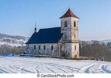 The church in snowy landscape
