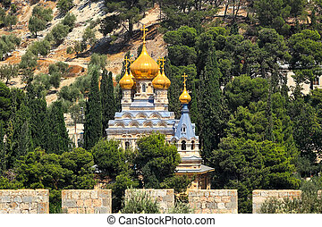 The Church of Mary Magdalene in Jerusalem, Israel. - Church...