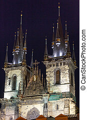 The Church of Our Lady before Tyn, from Old Town Square (Stare Mesto, Prague, Czech Republic, build in 15th century). Night view.