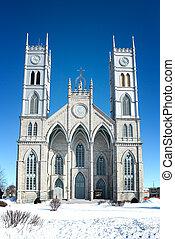 The church of Sainte Anne de la Perade in the snow, Quebec province, Canada.