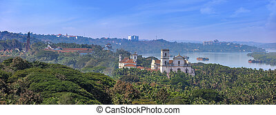 The Church of St. Cajetan viewed form Monte Hill in Old Goa, India.