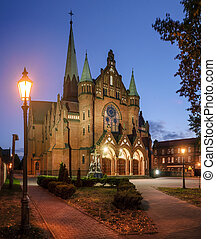 The Church of St. Joseph in Katowice in the evening. Poland,...
